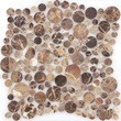 Мозаика LeeDo - Caramelle: Pietrine - Emperador Dark bolli полированная (круглые чипы)